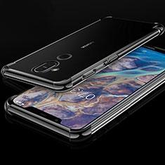Silikon Schutzhülle Ultra Dünn Tasche Durchsichtig Transparent H01 für Nokia 7.1 Plus Schwarz