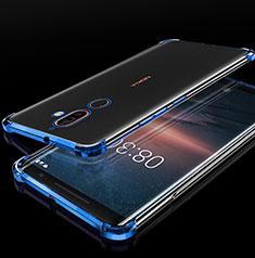 Silikon Schutzhülle Ultra Dünn Tasche Durchsichtig Transparent H01 für Nokia 7 Plus Blau