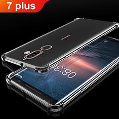 Silikon Schutzhülle Ultra Dünn Tasche Durchsichtig Transparent H01 für Nokia 7 Plus Schwarz