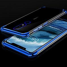 Silikon Schutzhülle Ultra Dünn Tasche Durchsichtig Transparent H01 für Nokia X5 Blau