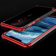 Silikon Schutzhülle Ultra Dünn Tasche Durchsichtig Transparent H01 für Nokia X5 Rot