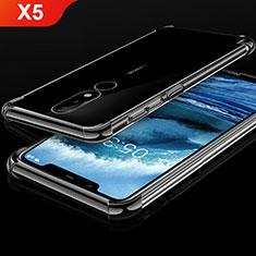 Silikon Schutzhülle Ultra Dünn Tasche Durchsichtig Transparent H01 für Nokia X5 Schwarz