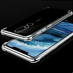 Silikon Schutzhülle Ultra Dünn Tasche Durchsichtig Transparent H01 für Nokia X5 Silber