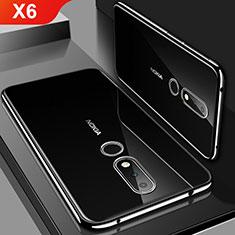 Silikon Schutzhülle Ultra Dünn Tasche Durchsichtig Transparent H01 für Nokia X6 Schwarz