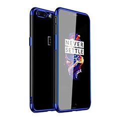 Silikon Schutzhülle Ultra Dünn Tasche Durchsichtig Transparent H01 für OnePlus 5 Blau