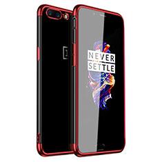 Silikon Schutzhülle Ultra Dünn Tasche Durchsichtig Transparent H01 für OnePlus 5 Rot