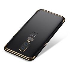 Silikon Schutzhülle Ultra Dünn Tasche Durchsichtig Transparent H01 für OnePlus 6 Gold