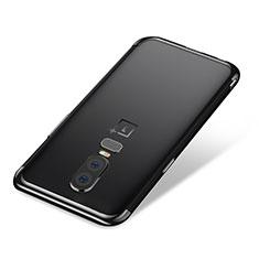 Silikon Schutzhülle Ultra Dünn Tasche Durchsichtig Transparent H01 für OnePlus 6 Schwarz