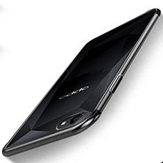 Silikon Schutzhülle Ultra Dünn Tasche Durchsichtig Transparent H01 für Oppo A3 Schwarz