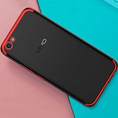 Silikon Schutzhülle Ultra Dünn Tasche Durchsichtig Transparent H01 für Oppo A71 Rot