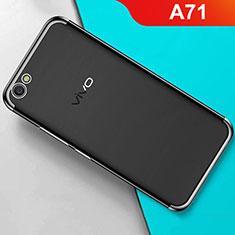 Silikon Schutzhülle Ultra Dünn Tasche Durchsichtig Transparent H01 für Oppo A71 Schwarz