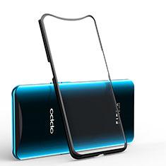 Silikon Schutzhülle Ultra Dünn Tasche Durchsichtig Transparent H01 für Oppo Find X Schwarz