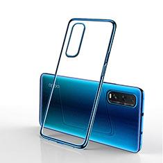 Silikon Schutzhülle Ultra Dünn Tasche Durchsichtig Transparent H01 für Oppo Find X2 Blau