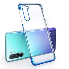 Silikon Schutzhülle Ultra Dünn Tasche Durchsichtig Transparent H01 für Oppo Reno3 Blau