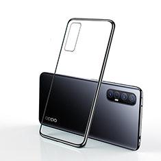 Silikon Schutzhülle Ultra Dünn Tasche Durchsichtig Transparent H01 für Oppo Reno3 Pro Schwarz