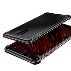 Silikon Schutzhülle Ultra Dünn Tasche Durchsichtig Transparent H01 für Samsung Galaxy A6 Plus (2018) Schwarz
