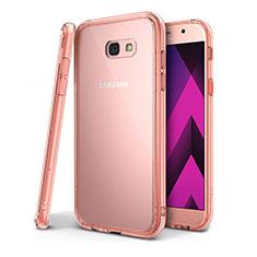 Silikon Schutzhülle Ultra Dünn Tasche Durchsichtig Transparent H01 für Samsung Galaxy A7 (2017) A720F Rosa