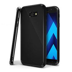 Silikon Schutzhülle Ultra Dünn Tasche Durchsichtig Transparent H01 für Samsung Galaxy A7 (2017) A720F Schwarz