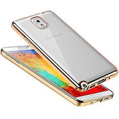 Silikon Schutzhülle Ultra Dünn Tasche Durchsichtig Transparent H01 für Samsung Galaxy Note 3 N9000 Gold