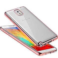 Silikon Schutzhülle Ultra Dünn Tasche Durchsichtig Transparent H01 für Samsung Galaxy Note 3 N9000 Rosegold