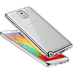 Silikon Schutzhülle Ultra Dünn Tasche Durchsichtig Transparent H01 für Samsung Galaxy Note 3 N9000 Silber