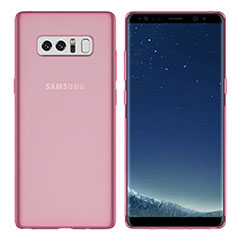 Silikon Schutzhülle Ultra Dünn Tasche Durchsichtig Transparent H01 für Samsung Galaxy Note 8 Duos N950F Rosa