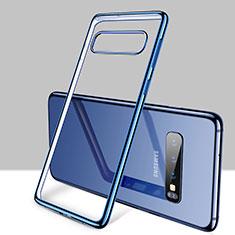 Silikon Schutzhülle Ultra Dünn Tasche Durchsichtig Transparent H01 für Samsung Galaxy S10 Plus Blau