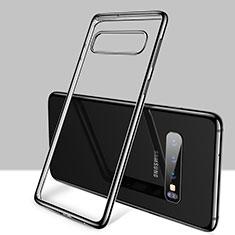 Silikon Schutzhülle Ultra Dünn Tasche Durchsichtig Transparent H01 für Samsung Galaxy S10 Schwarz