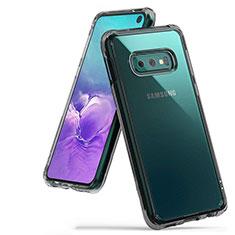 Silikon Schutzhülle Ultra Dünn Tasche Durchsichtig Transparent H01 für Samsung Galaxy S10e Grau