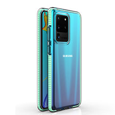 Silikon Schutzhülle Ultra Dünn Tasche Durchsichtig Transparent H01 für Samsung Galaxy S20 Ultra 5G Cyan