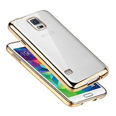 Silikon Schutzhülle Ultra Dünn Tasche Durchsichtig Transparent H01 für Samsung Galaxy S5 G900F G903F Gold