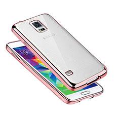 Silikon Schutzhülle Ultra Dünn Tasche Durchsichtig Transparent H01 für Samsung Galaxy S5 G900F G903F Rosegold