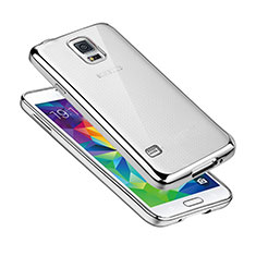 Silikon Schutzhülle Ultra Dünn Tasche Durchsichtig Transparent H01 für Samsung Galaxy S5 G900F G903F Silber