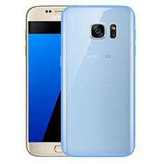 Silikon Schutzhülle Ultra Dünn Tasche Durchsichtig Transparent H01 für Samsung Galaxy S7 G930F G930FD Blau