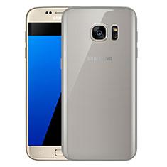 Silikon Schutzhülle Ultra Dünn Tasche Durchsichtig Transparent H01 für Samsung Galaxy S7 G930F G930FD Grau