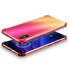 Silikon Schutzhülle Ultra Dünn Tasche Durchsichtig Transparent H01 für Xiaomi Mi 8 Screen Fingerprint Edition Rot