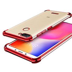 Silikon Schutzhülle Ultra Dünn Tasche Durchsichtig Transparent H01 für Xiaomi Redmi 6 Rot