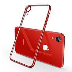 Silikon Schutzhülle Ultra Dünn Tasche Durchsichtig Transparent H02 für Apple iPhone XR Rot