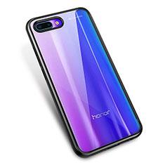Silikon Schutzhülle Ultra Dünn Tasche Durchsichtig Transparent H02 für Huawei Honor 10 Schwarz