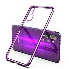 Silikon Schutzhülle Ultra Dünn Tasche Durchsichtig Transparent H02 für Huawei Honor 20 Pro Violett