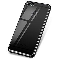 Silikon Schutzhülle Ultra Dünn Tasche Durchsichtig Transparent H02 für Huawei Honor 7X Schwarz