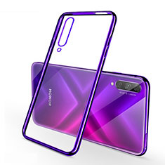 Silikon Schutzhülle Ultra Dünn Tasche Durchsichtig Transparent H02 für Huawei Honor 9X Pro Violett