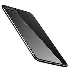 Silikon Schutzhülle Ultra Dünn Tasche Durchsichtig Transparent H02 für Huawei Honor V10 Schwarz