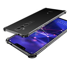 Silikon Schutzhülle Ultra Dünn Tasche Durchsichtig Transparent H02 für Huawei Mate 20 Lite Schwarz