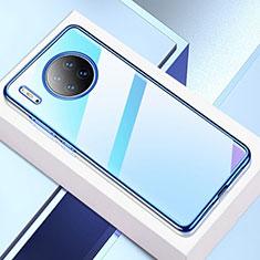 Silikon Schutzhülle Ultra Dünn Tasche Durchsichtig Transparent H02 für Huawei Mate 30 Blau