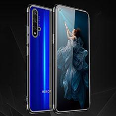 Silikon Schutzhülle Ultra Dünn Tasche Durchsichtig Transparent H02 für Huawei Nova 5T Schwarz