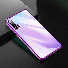 Silikon Schutzhülle Ultra Dünn Tasche Durchsichtig Transparent H02 für Huawei Nova 6 Violett