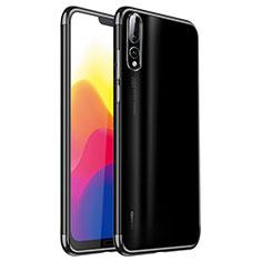 Silikon Schutzhülle Ultra Dünn Tasche Durchsichtig Transparent H02 für Huawei P20 Pro Schwarz