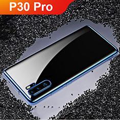 Silikon Schutzhülle Ultra Dünn Tasche Durchsichtig Transparent H02 für Huawei P30 Pro Blau