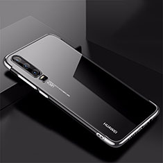 Silikon Schutzhülle Ultra Dünn Tasche Durchsichtig Transparent H02 für Huawei P30 Silber